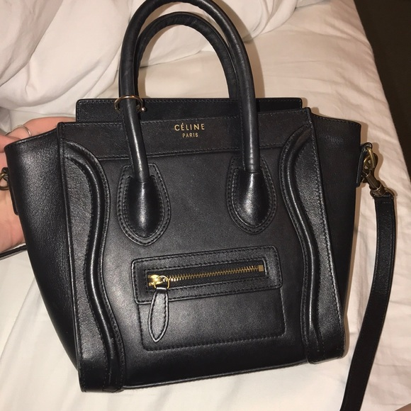 055d4ad1ea Celine Handbags - Celine Nano Black Gold Hardware Shoulder Strap